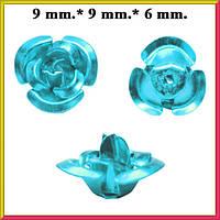 Набор Пайетки Розы Объемные Голубого Цвета 20 штук Диаметр 9 мм для Рукоделия