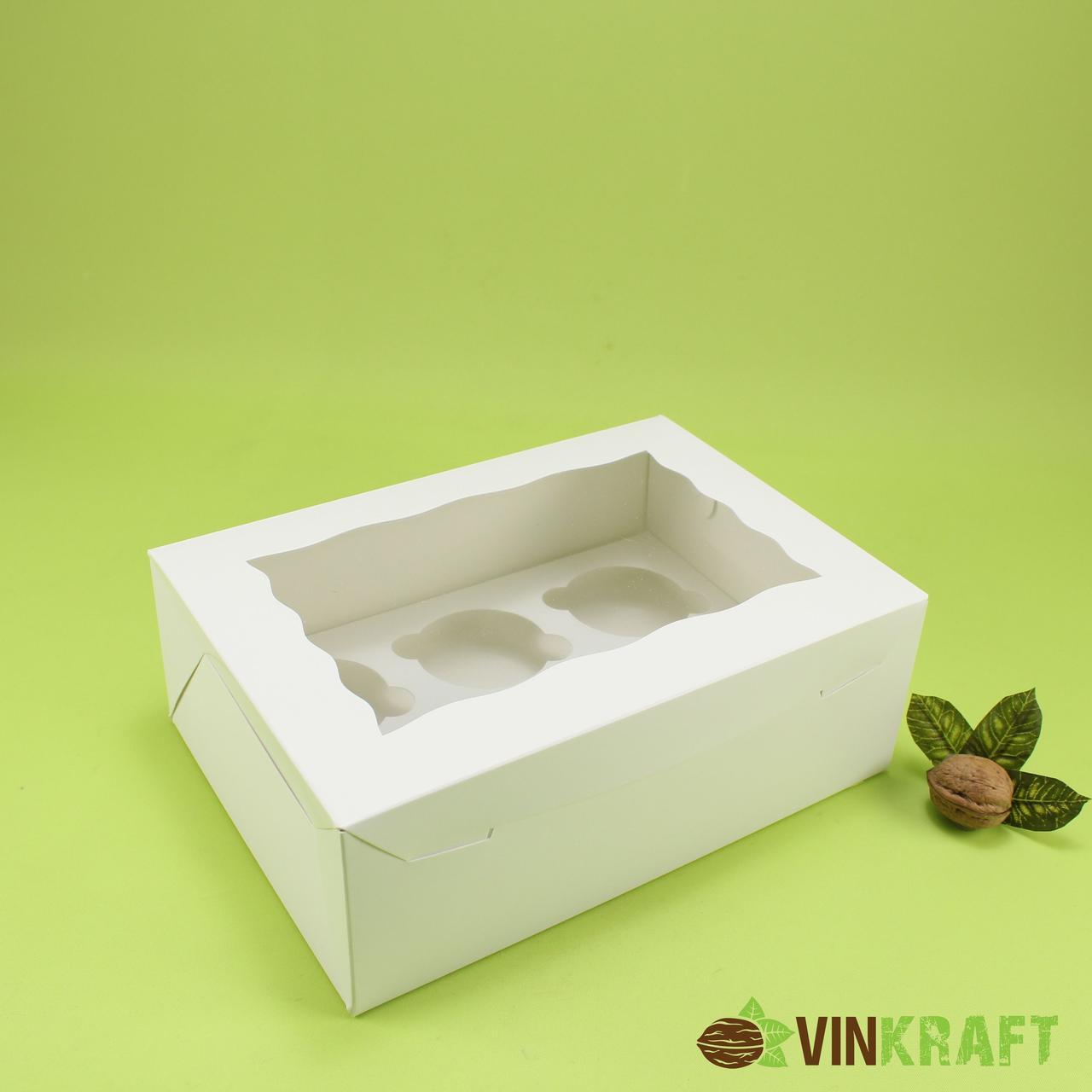 Коробка 255*180*90 для капкейків з вікном (6 шт), біла