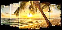 Настенные часы/Модульная картина DK Store s447T Закат на пляже 1550х750 мм