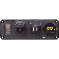 Blue Sea 4366 Water Resistant USB Accessory Panel - Circuit Breaker, 12V Socket, Dual USB Charger, Mini Voltmeter