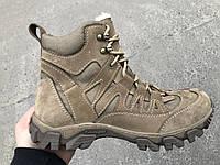Тактические ботинки, берцы из натуральной кожи и меха - бежевый ботинок енерджи