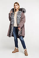 Парка длинная женская с мехом чернобурки 52 - 58, фото 1