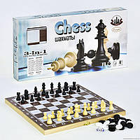 Шахматы на деревянной доске Small Toys 3 в 1 F22016 34х34 см