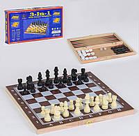 Шахматы деревянные 3 в 1 Small Toys С 36812 39х39 см
