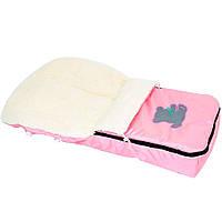 Конверт для детей на овчине Розовый