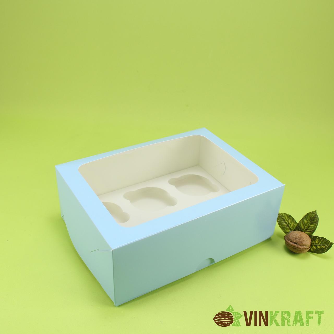 Коробка 240*180*90 для капкейків з вікном (6 шт), блакитна