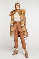 Куртка зимняя женская с мехом лисы, фото 1
