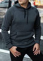 Мужская теплая толстовка худи с рукавами реглан серая