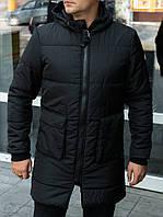 Мужская удлиненная куртка-пальто на синтепоне черного цвета