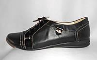 Женские полуботинки из натуральной кожи с лаковыми вставками на шнуровке