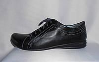 Стильные черные женские полуботинки на шнурках из натуральной кожи