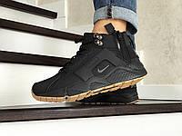 Мужские зимние кроссовки Nike 8542 чёрные с коричневым, фото 1