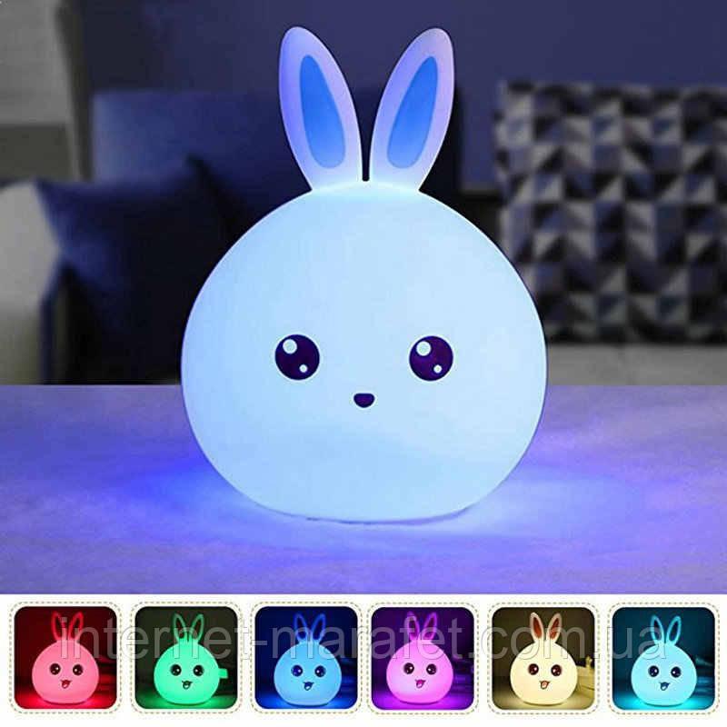 """Силіконовий нічник - світильник """"Кролик"""", з пультом управління"""