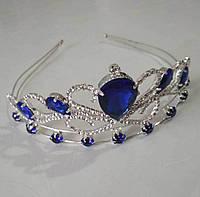 Диадема на обруче Корона серебряная с синими камнями