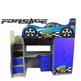 Ліжко-горище у вигляді машинки Forsage (синя)