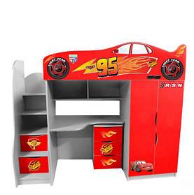 Дитяче ліжко-горище у вигляді машинки Forsage (червона)