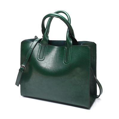 Большая женская сумка Classic зеленая