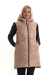 Стильна.,жіноча,демісезонна жилетка,капюшон вшитий, розміри з 44 по 50, бежевий (ж3)жіночий жилет