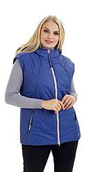 Стильний.,жіночий,демісезонний жилет,знімний капюшон, розміри 48,50 фіалка (1) жіночий жилет
