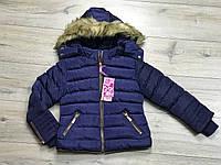 Зимняя куртка на синтепоне, со съемным капюшоном. Внутри мех-травка. 6- 14 лет