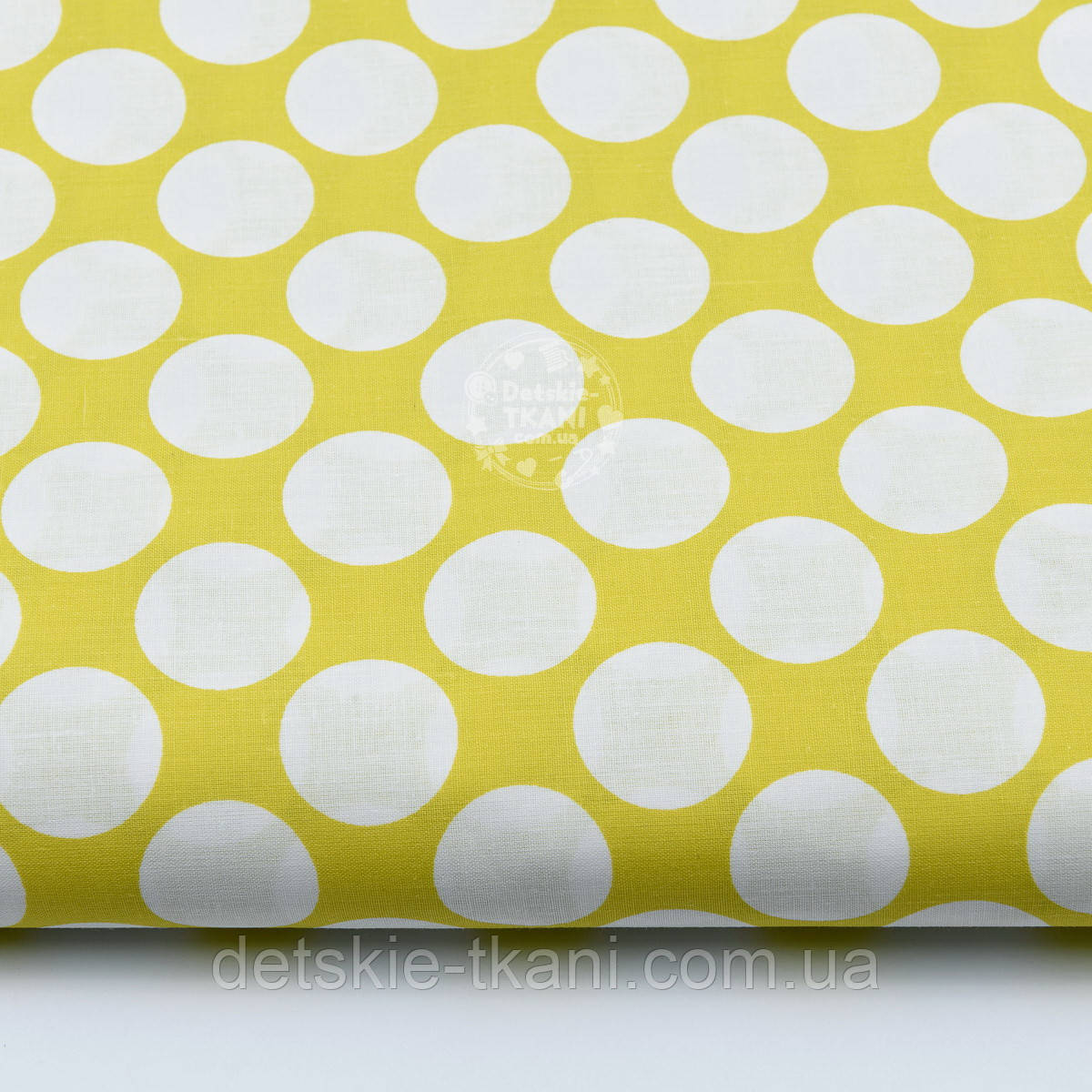 Отрез ткани горчичного цвета с густыми горохами размером 3 см (№ 674а), размер 49*160