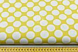Отрез ткани горчичного цвета с густыми горохами размером 3 см (№ 674а), размер 49*160, фото 2