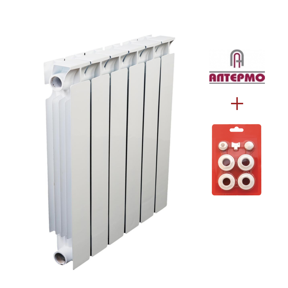 Биметаллический радиатор Алтермо ЛРБ 500/80 10 секций в сборе