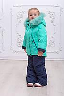 Детский зимний костюм для девочки мятного цвета