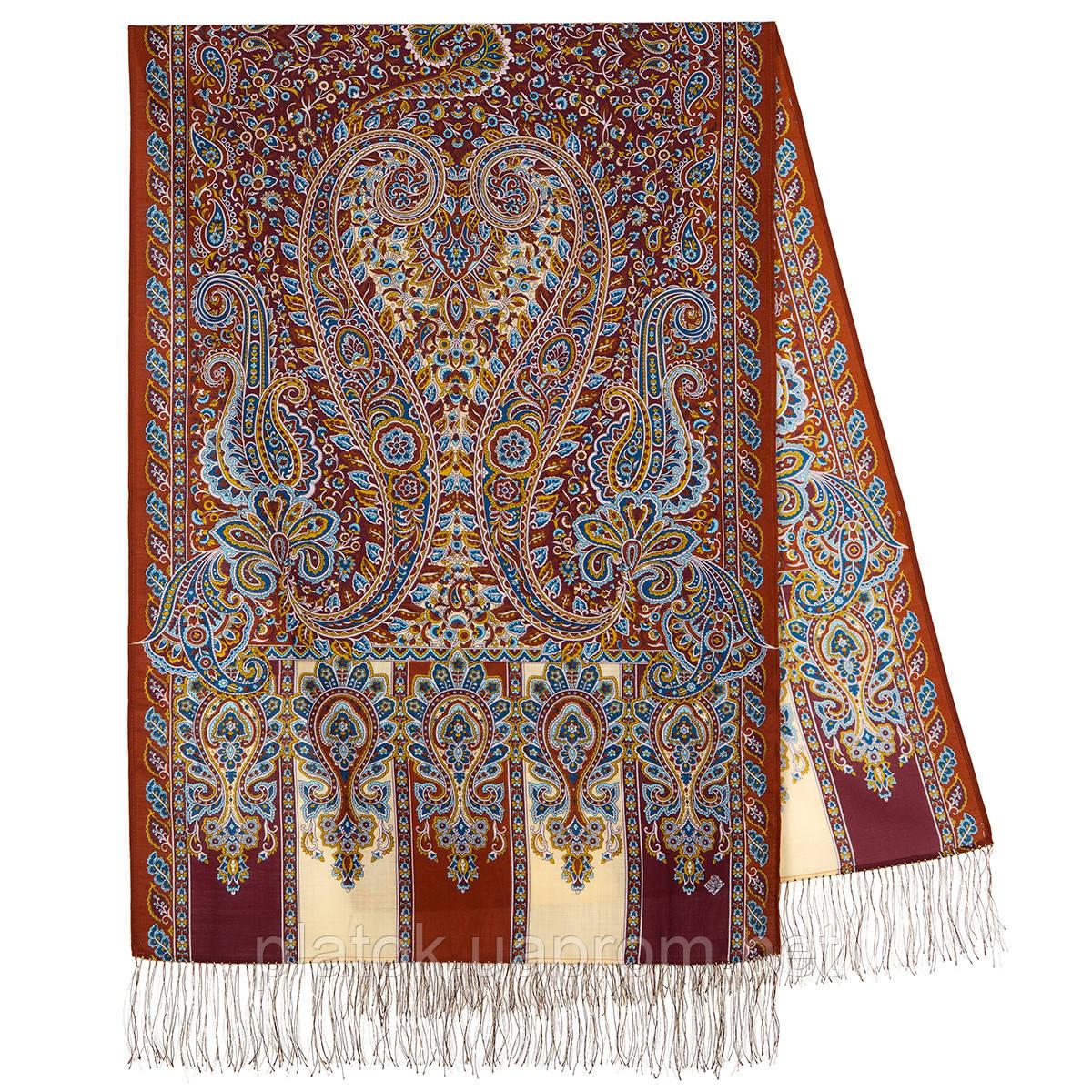 Четыре ветра 1881-66, павлопосадский шарф-палантин шерстяной с шелковой бахромой