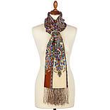 Четыре ветра 1881-66, павлопосадский шарф-палантин шерстяной с шелковой бахромой, фото 2