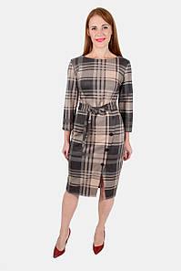 Клетчатое модное платье с разрезом 44-50 р
