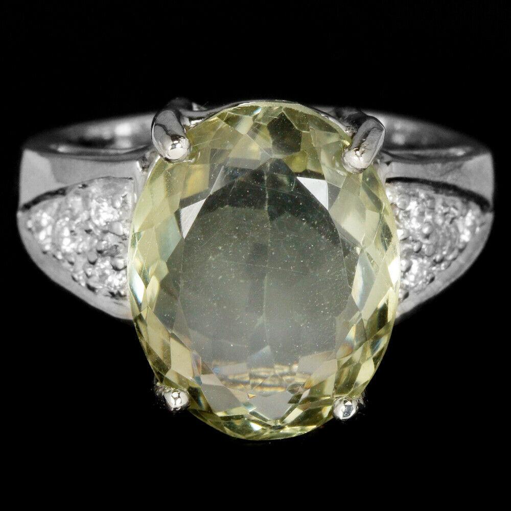 Серебряное кольцо с зеленым аметистом, 14,7*11,4 мм., 2101КЦА
