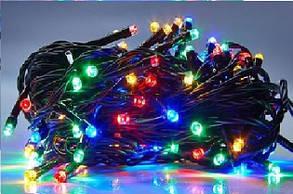 Гирлянда УЛИЧНАЯ нить(линия) 100 LED 5mm,10 метр,на Черном проводе, разноцветная