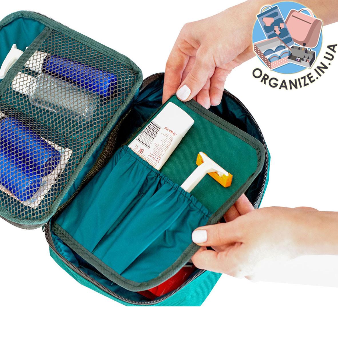 Дорожный органайзер для косметики с отстегивающимся кармашком ORGANIZE (зеленый)