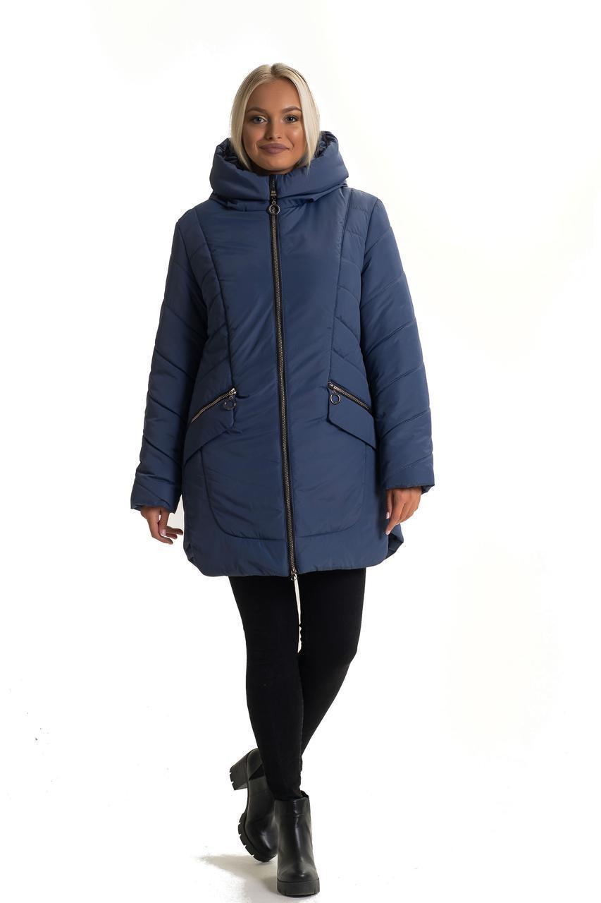 Женская зимняя куртка - пуховик без меха, размеры 50-62