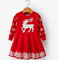 Плаття для дівчинки з новорічним принтом / Платье с принтом оленя и снежинки; новогодний костюм