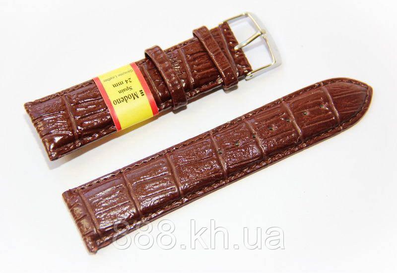 Ремешок для наручных часов кожаный Modeno Spain с классической застежкой, коричневый, 24 мм