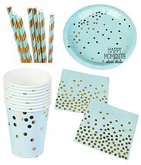 """Набір паперової посуду - тарілочки великі, стаканчики,серветки і трубочки """"Blue confetti"""" (40 шт.)"""