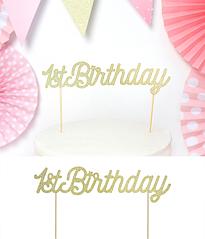 """Топпер для торта """"1st Birthday"""" (золотой)"""