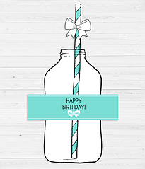 Набор наклеек на бутылки и трубочек с бантиками (10 шт.)
