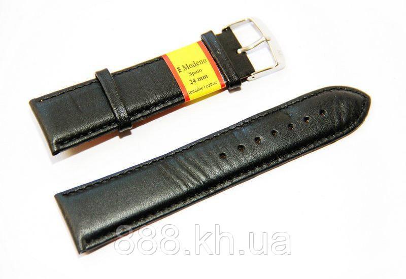 Ремешок для наручных часов кожаный Modeno Spain с классической застежкой, черный, 24 мм