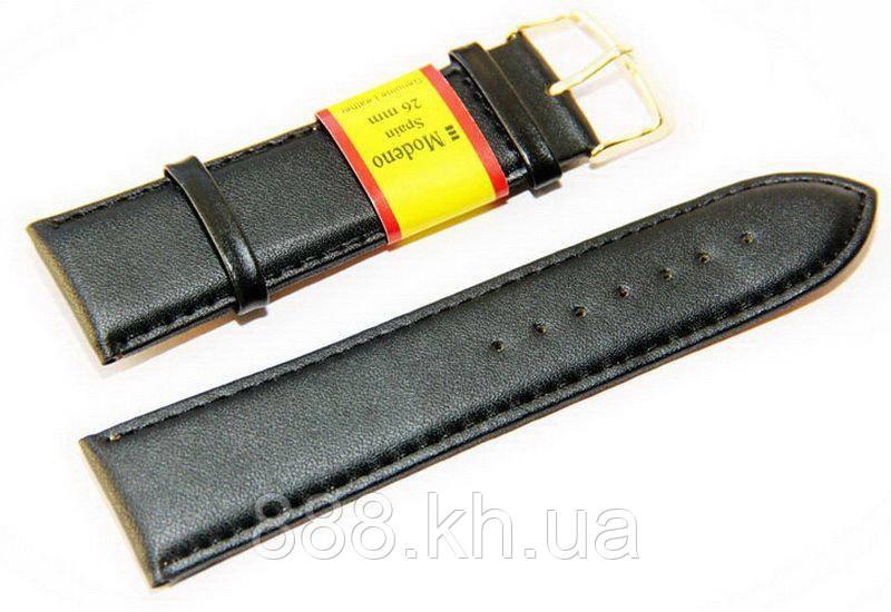 Ремешок для наручных часов кожаный Modeno Spain с классической застежкой, черный, 26 мм