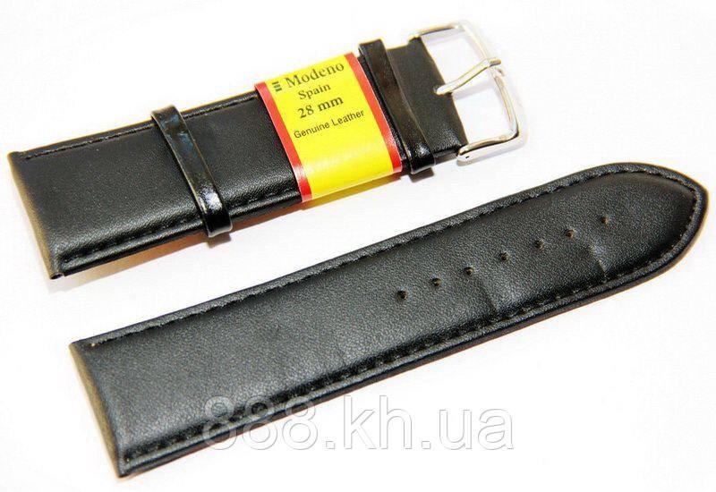 Ремешок для наручных часов кожаный Modeno Spain с классической застежкой, черный, 28 мм