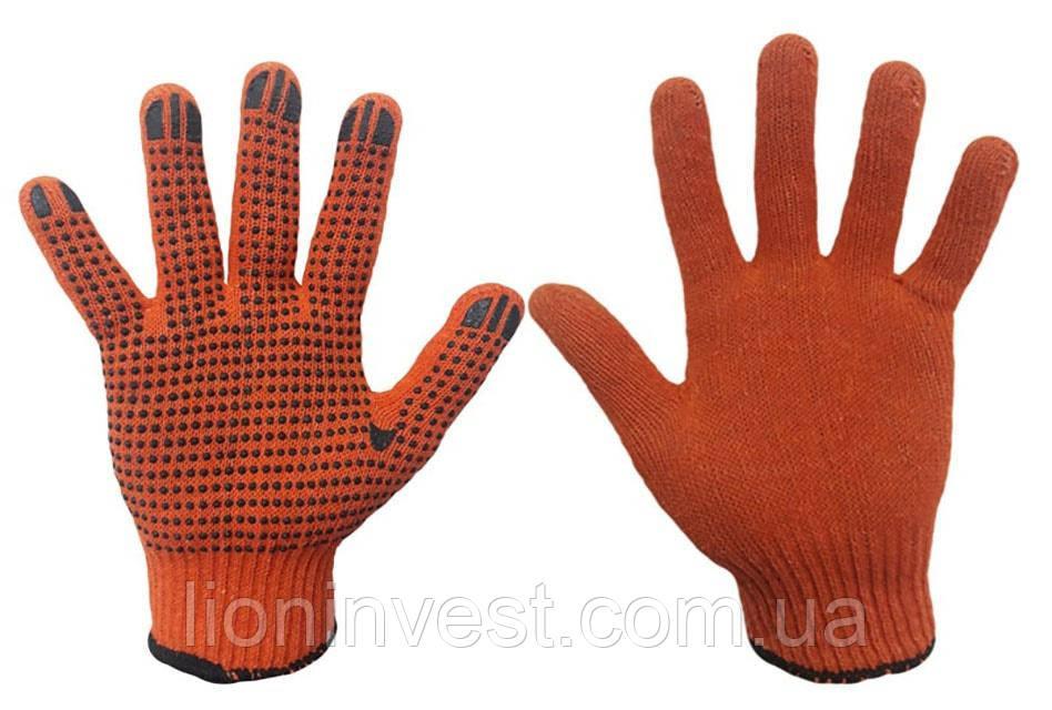 Перчатки рабочие ХБ с ПВХ точкой оранжевые
