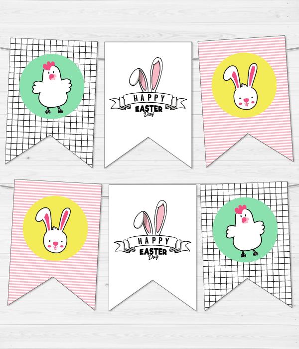 """Гирлянда из флажков """"Happy Easter"""" (12 флажков)"""