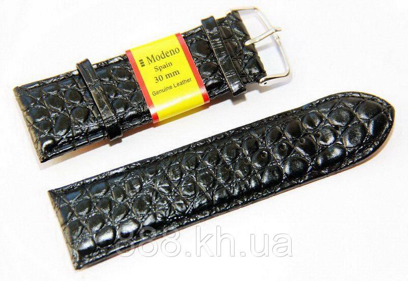 Ремешок для наручных часов кожаный Modeno Spain с классической застежкой, черный, 30 мм