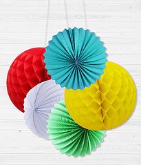 Набор бумажных шариков для украшения праздника (5 шт.)