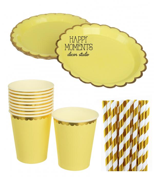 """Набор бумажной посуды - тарелочки, стаканчики и трубочки """"Yellow & Gold"""""""