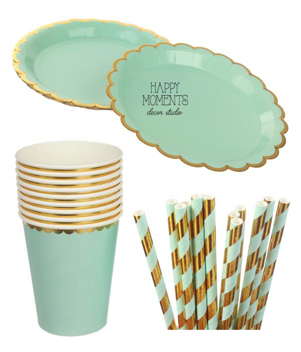 """Набор бумажной посуды - тарелочки, стаканчики и трубочки """"Mint & Gold"""" (30 шт.)"""
