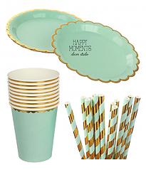 """Набор бумажной посуды - тарелочки, стаканчики и трубочки """"Mint & Gold"""""""